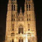 Picture - Cathedral St Michel illuminated at night, Brussels.