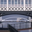 Picture - View of bridges at Salford Quays in Greater Manchester.