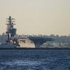 Picture - Aircraft carrier in San Diego harbor.