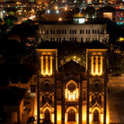 Picture - The San Fernando Cathedral in San Antonio, lit up at night.