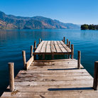 Picture - View of the mountains and lake seen from a dock at San Pedro La Laguna.
