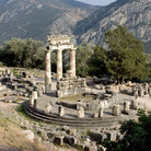 Picture - Tholos in Delphi (Delfi), Greece was built in 4th century BC and may have been a shrine to earth goddess Gaia.