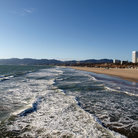 Picture - Waves rolling in on Santa Monica Beach.