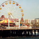 Picture - Ferris Wheel at an amusement park on top of the Santa Monica Pier in Los Angeles.