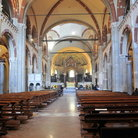Picture - Pews and columns inside the Sant'Ambrogio church in Milan.