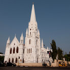 Picture - The white exterior of  Santhome Cathedral Basilica in Chennai.