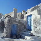 Picture - Stone walls on Santorini.