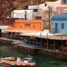 Picture - Restaurants on the shores of Santorini.