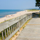 Picture - A boardwalk to the beach and dunes at Saugatuk.