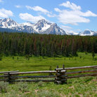 Picture - Grass field in front of the Sawtooth Mountains.