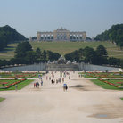 Picture - Tourist in the park below Schonbrunn Palace in Vienna.