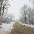 Picture - Dirt road after snowfall in Scottsbluff, Nebraska.