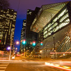 Picture - Night view of the Seattle Public Library.