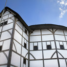 Picture - The Globe Theatre in on the south bank of the Thames in London.