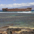 Picture - Looking out from the shore of Shipwreck Beach on Lanai Island.