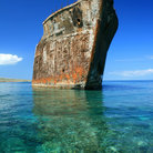 Picture - Remains of the old ship at Shipwreck Beach on Lanai Island.