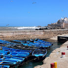Picture - Boats in the harbor at Essaouira.