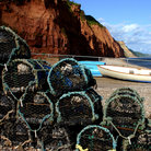 Picture - Crab traps on the beach at Sidmouth.