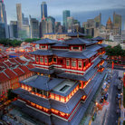 Picture - Looking down on the Buddha's Relic Tooth Temple in Chinatown of Singapore.