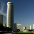 Picture - A round office tower in Singapore.