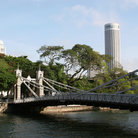 Picture - The Cavenagh Bridge over the Singapore River.