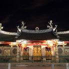 Picture - Chinese temple at night in Singapore.