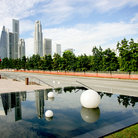 Picture - Singapore skyline and reflecting pool.