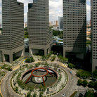 Picture - The fountain of wealth with high rises in Singapore.