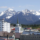 Picture - Mountains behind downtown Sitka.