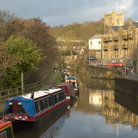Picture - Boats along the canal at Skipton.