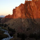 Picture - River running through Smith Rock State Park at sunrise.