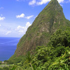 Picture - The harbor of Soufriere and the Petit Piton.