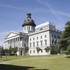 Picture - The white South Carolina State House in Columbia.