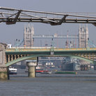Picture - Southwark Bridge and Millenium Bridge in London.