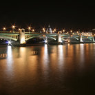 Picture - The Southwark Bridge at night in London.