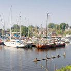 Picture - Yachts in the harbor of Spaarndam.