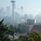 Picture - Fog around the Space Needle in Seattle.
