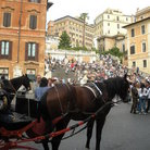 Picture - Horse drawn carriage in Piazza Spagna near the Spanish Steps in Rome.