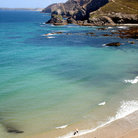Picture - View over the beach at Trevaunance Cove, St. Agnes.