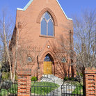Picture - The red brick St Anne's Church in Annapolis.