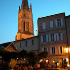 Picture - The church tower in St Emilion at night.