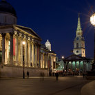 Picture - The National Gallery and St Martin's-in-the-Fields Church in London.