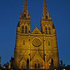 Picture - Evening view of St Mary's Cathedral in Sydney.