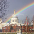 Picture - Rainbow over the Cathedral of St Paul's in London.
