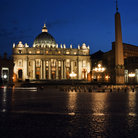 Picture - St Peter's Basilica seen at night.