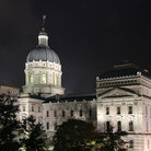 Picture - Night view of the Indiana State Capitol building in Indianapolis.