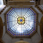 Picture - Stained glass in rotunda, Indiana State Capitol.