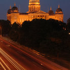 Picture - Highway beside the State Capitol Building in Des Moines, at night.