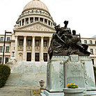 Picture - Mississippi State Capitol & statue to women of Confereracy in Jackson.