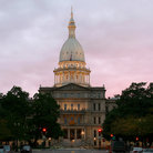 Picture - Lansing Capitol at sunset.